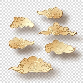Zestaw złotych chmur z cieniem w stylu chińskim