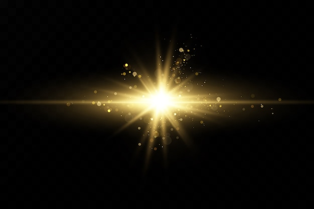Zestaw złotych efektów świetlnych. błyski i odblaski. jasne promienie światła. świecące linie. ilustracja. boże narodzenie flash. kurz.