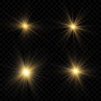 Zestaw złotych efektów świetlnych na przezroczystym tle