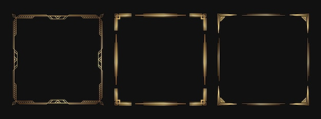 Zestaw złotych elementów dekoracyjnych. izolowane ramki i obramowania w stylu art deco do projektowania