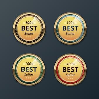 Zestaw złotych etykiet gwarancji najwyższej jakości