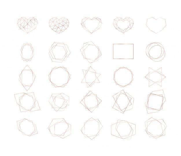 Zestaw złotych geometrycznych kształtów. koła, trójkąty, serca i inne ramki o różnych kształtach