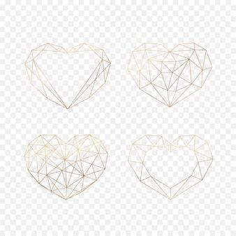 Zestaw złotych geometrycznych wielokątów serc. ikony na białym tle