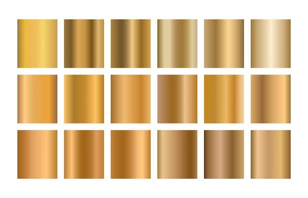Zestaw złotych gradientów. kolekcja metali złotych.