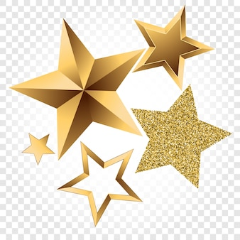 Zestaw złotych gwiazd wykonanych z metalu i błyszczy.