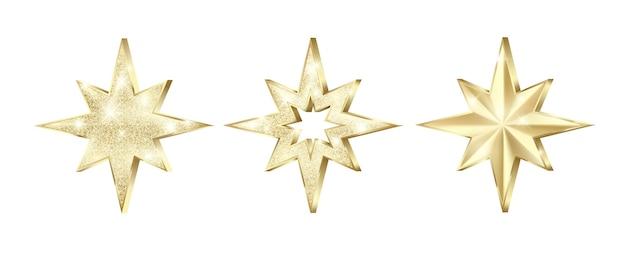 Zestaw złotych gwiazd z brokatem