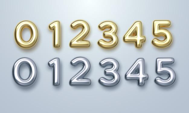 Zestaw złotych i srebrnych cyfr