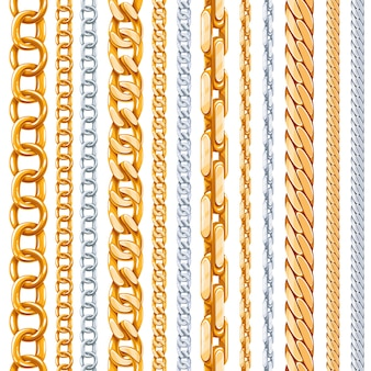 Zestaw złotych i srebrnych łańcuszków. łącznik metaliczny, błyszczący element, przedmiot żelazny mocny