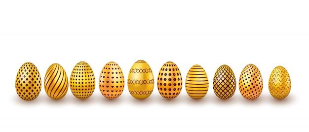 Zestaw złotych jajek wielkanocnych. projekt 3d realistyczne jaj na białym tle
