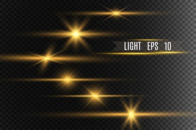 Zestaw złotych jasnych pięknych gwiazd. efekt świetlny bright star. piękne światło dla ilustracji. wektor błyszczy. białe świecące światło.