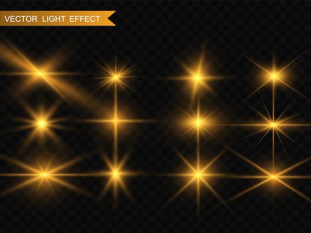 Zestaw złotych jasnych pięknych gwiazd. efekt świetlny bright star. piękne światło na ilustrację. gwiazda bożego narodzenia. białe iskry błyszczą specjalnym światłem. wektor błyszczy na przezroczystym tle