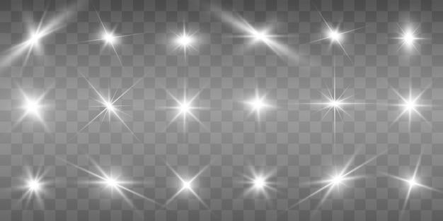 Zestaw złotych jasnych pięknych gwiazd.