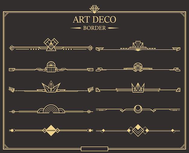 Zestaw złotych kaligraficznych dzielników strony w stylu art deco.