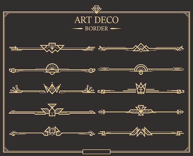 Zestaw złotych kaligraficznych przekładek do stron w stylu art deco.