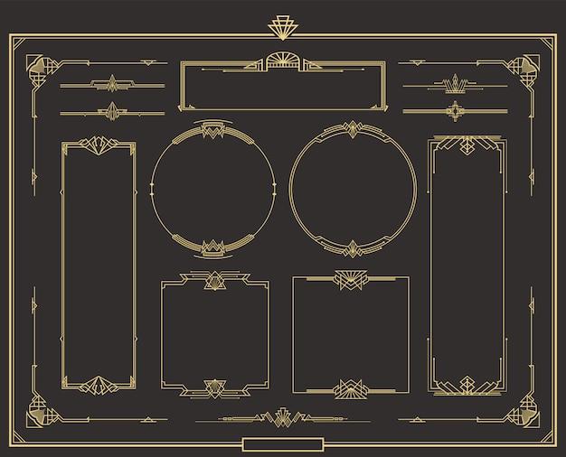 Zestaw złotych kaligraficznych przekładek stron w stylu art deco.