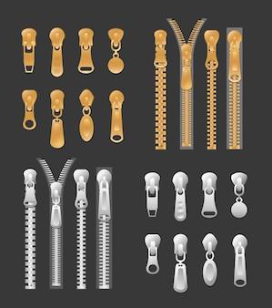 Zestaw złotych kolorów i srebrnych metalicznych zamków. kolekcja zamkniętych i otwartych ściągaczy na czarnym tle.