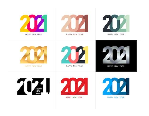 Zestaw złotych, kolorowych, czarno-białych plakatów świątecznych logo. granicy szczęśliwego nowego roku.