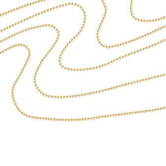 Zestaw złotych koralików i złotych łańcuchów