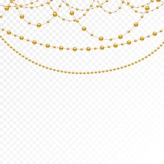 Zestaw złotych koralików i złotych łańcuchów.