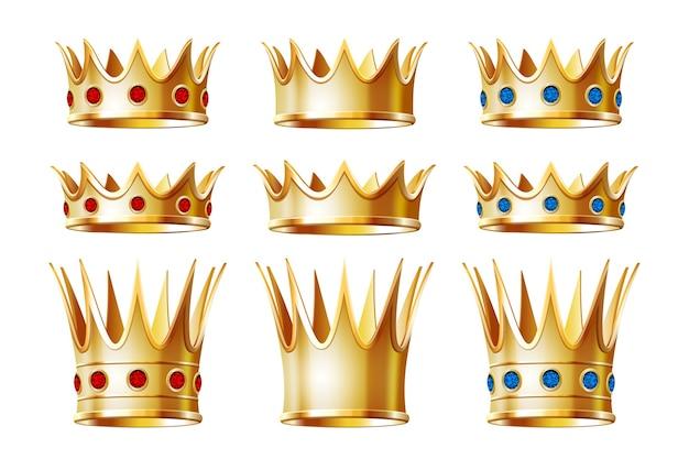 Zestaw złotych koron dla króla lub monarchy, tiary królowej lub księżniczki, nakrycia głowy księcia. klasyczny heraldyczny znak cesarski. biżuteria i ceremonia koronacji cesarza, motyw monarchii. na białym tle