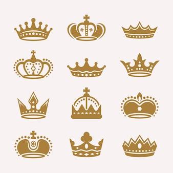 Zestaw złotych koron na białym tle wektorowe ikony