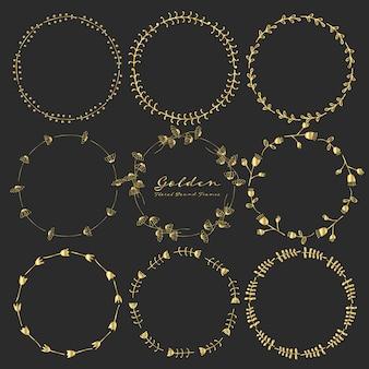 Zestaw złotych kwiatowy okrągłe ramki do dekoracji.