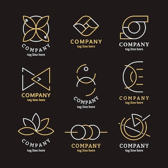 Zestaw złotych logo firmy
