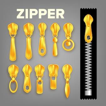Zestaw złotych metalowych i plastikowych zamków błyskawicznych