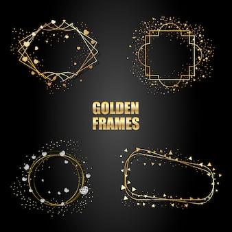 Zestaw złotych metalowych ramek z iskierkami.