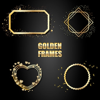 Zestaw złotych metalowych ramek z iskierkami
