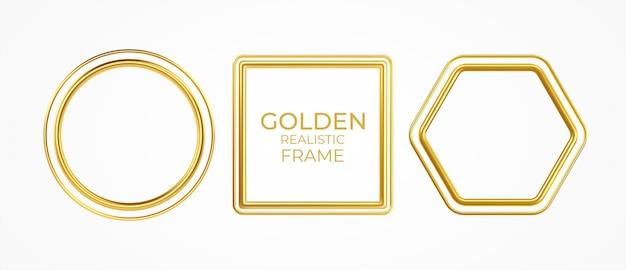Zestaw złotych metalowych realistycznych ramek o różnych kształtach na białym tle