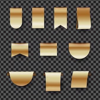 Zestaw złotych metek lub etykiet. złota wstążka