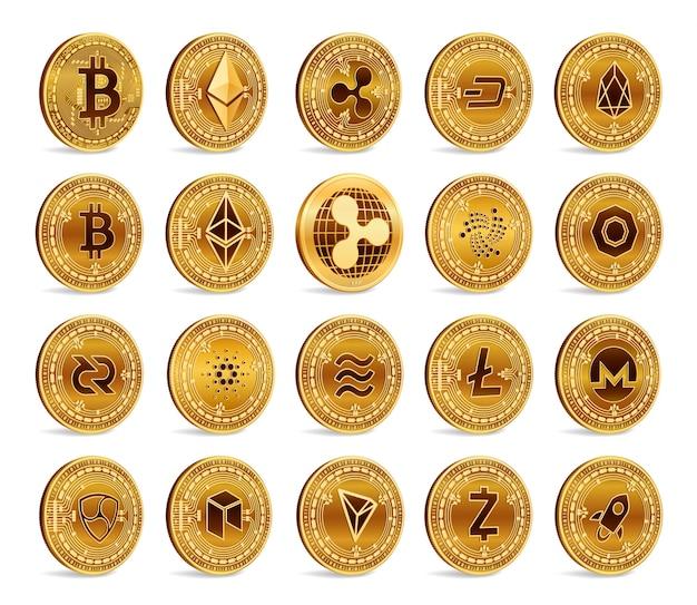 Zestaw złotych monet kryptowaluty 3d. bitcoin, ripple, ethereum, litecoin, monero i inne.