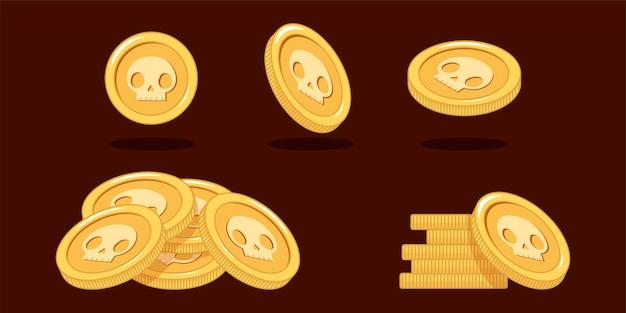 Zestaw złotych monet w różnych pozycjach