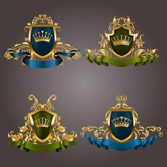 Zestaw złotych monogramów vip. elegancka wdzięczna rama, wstążka, filigranowa obwódka, korona w stylu vintage