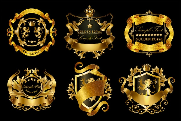 Zestaw złotych naklejek królewskich z koronami, tarczami, wstążkami, lwami
