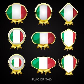 Zestaw złotych odznak premium flagi włoch