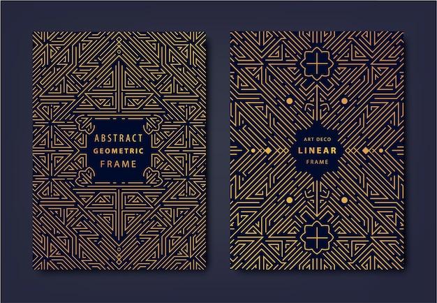 Zestaw złotych okładek w stylu art deco kreatywne szablony projektowe modny graficzny plakat gatsby projektowanie broszur, opakowanie i branding geometryczne kształty, elementy ozdobne