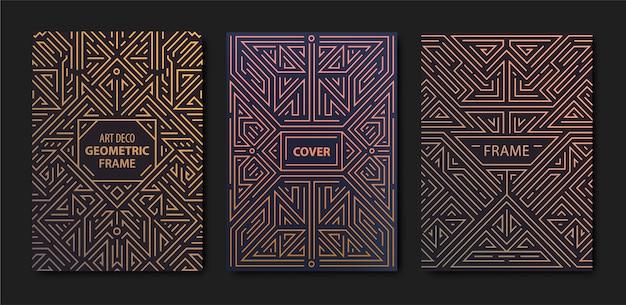 Zestaw złotych okładek w stylu art deco. szablony kreatywne. geometryczne kształty, ozdoby