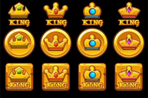 Zestaw złotych okrągłych i kwadratowych ikon aplikacji z koronami