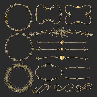 Zestaw złotych ozdobne elementy kaligraficzne do dekoracji.
