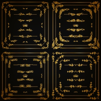 Zestaw złotych ozdobnych obramowań, ramka