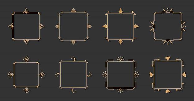 Zestaw złotych ozdobnych ramek filigranowych. ozdobna rama.