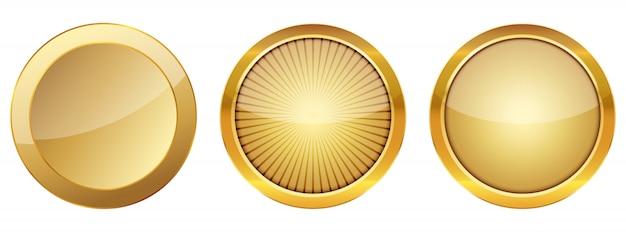 Zestaw złotych przycisków 3d. ilustracja.