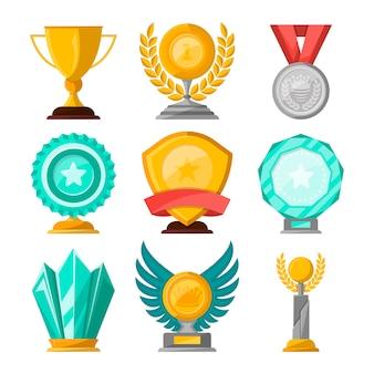 Zestaw złotych pucharów i nagród