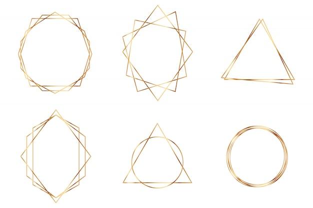 Zestaw złotych ramek geometrycznych. szczegółowy zestaw cienkich linii złoty wielokątne ramki do dekoracji zaproszenie.