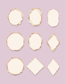 Zestaw złotych ramek w stylu art deco