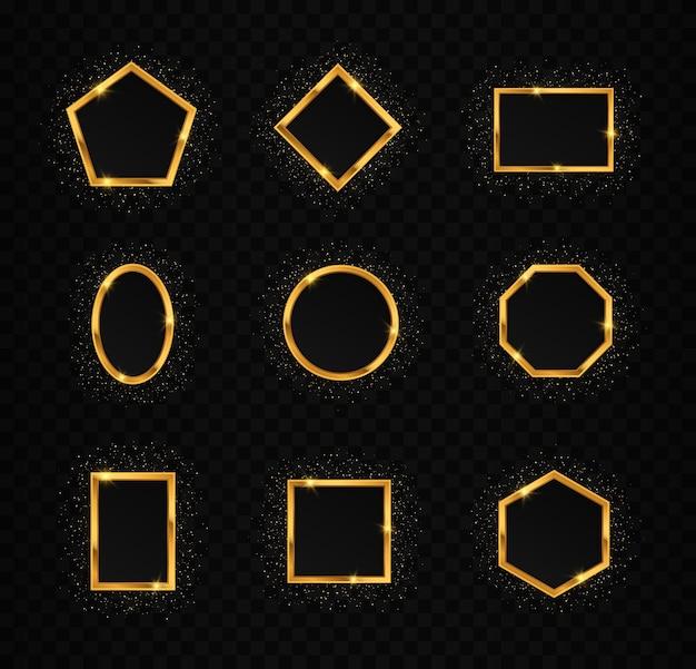 Zestaw złotych ramek z efektami świetlnymi brokatowe koło kwadratowy prostokąt wielokąta