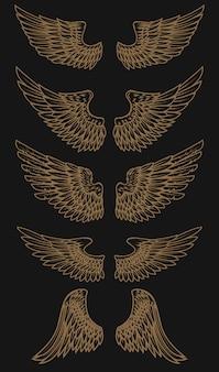 Zestaw złotych skrzydeł na ciemnym tle. ilustracja