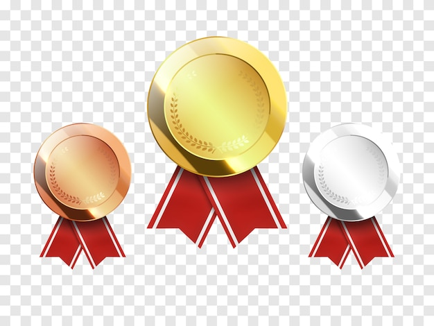 Zestaw złotych, srebrnych i brązowych medali award na przezroczystym